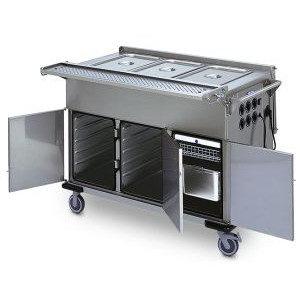 Тележки для раздачи и транспортировки пищи подогреваемые, со шкафами и ваннами